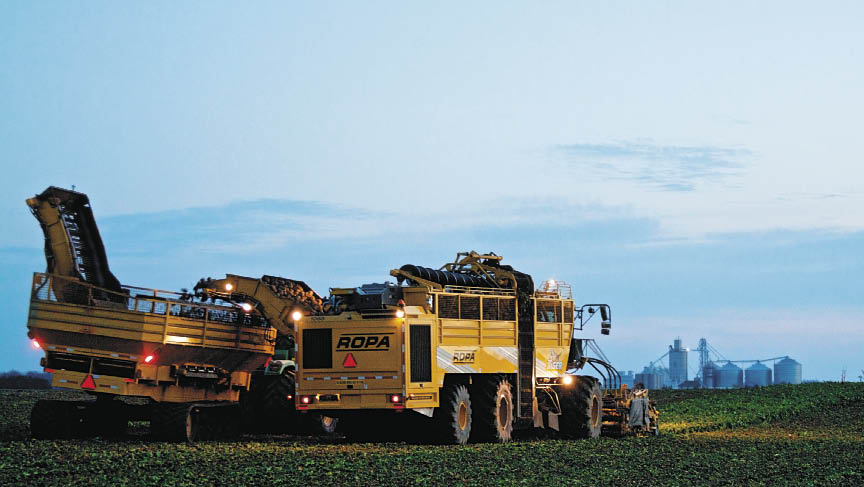 Laracha Farms use the Ropa nine-row self-propelled machine to harvest sugarbeets. Photo by Pete Hudeck