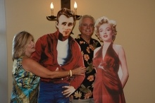 Posing with James Dean and Marilyn Monroe
